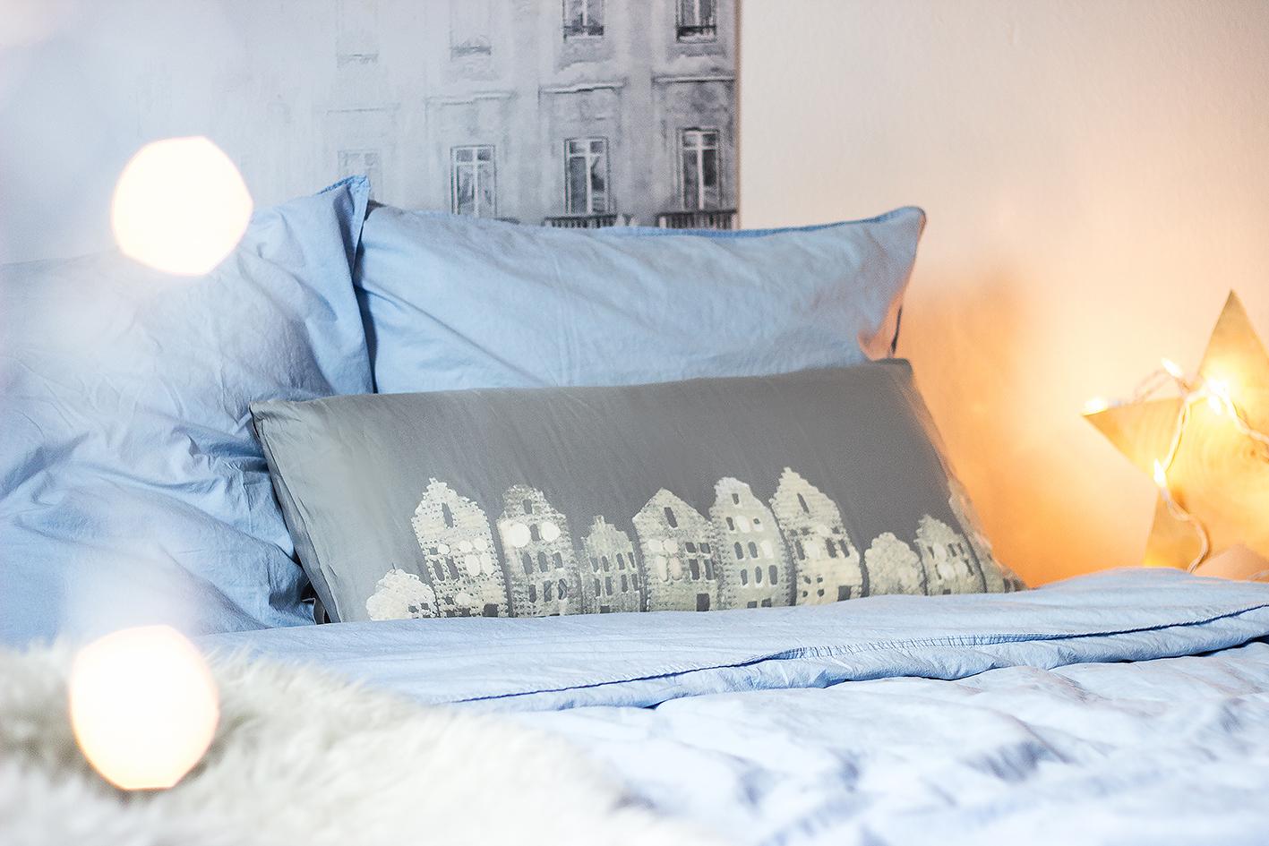 kissen bleichen winterliche h uschen kulisse. Black Bedroom Furniture Sets. Home Design Ideas